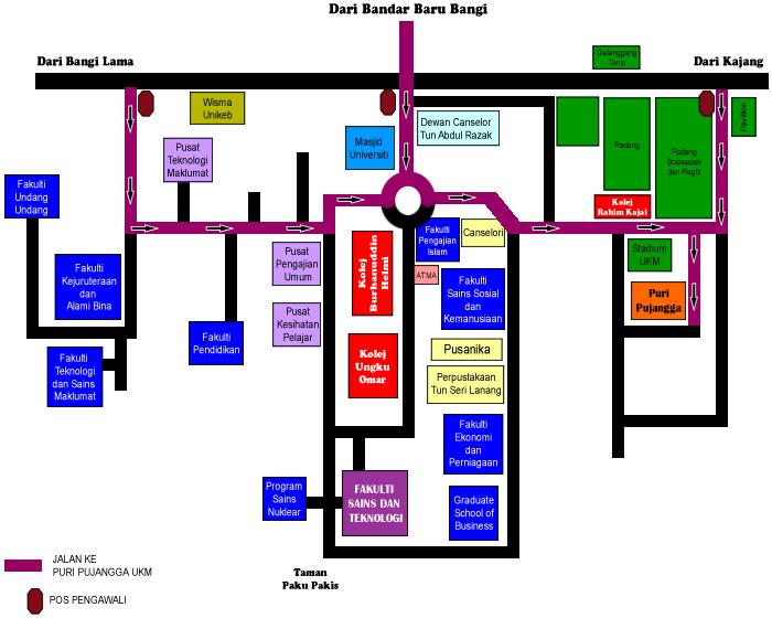 Peta ke lokasi seminar ukm-unri ke-6, puri pujangga ukm