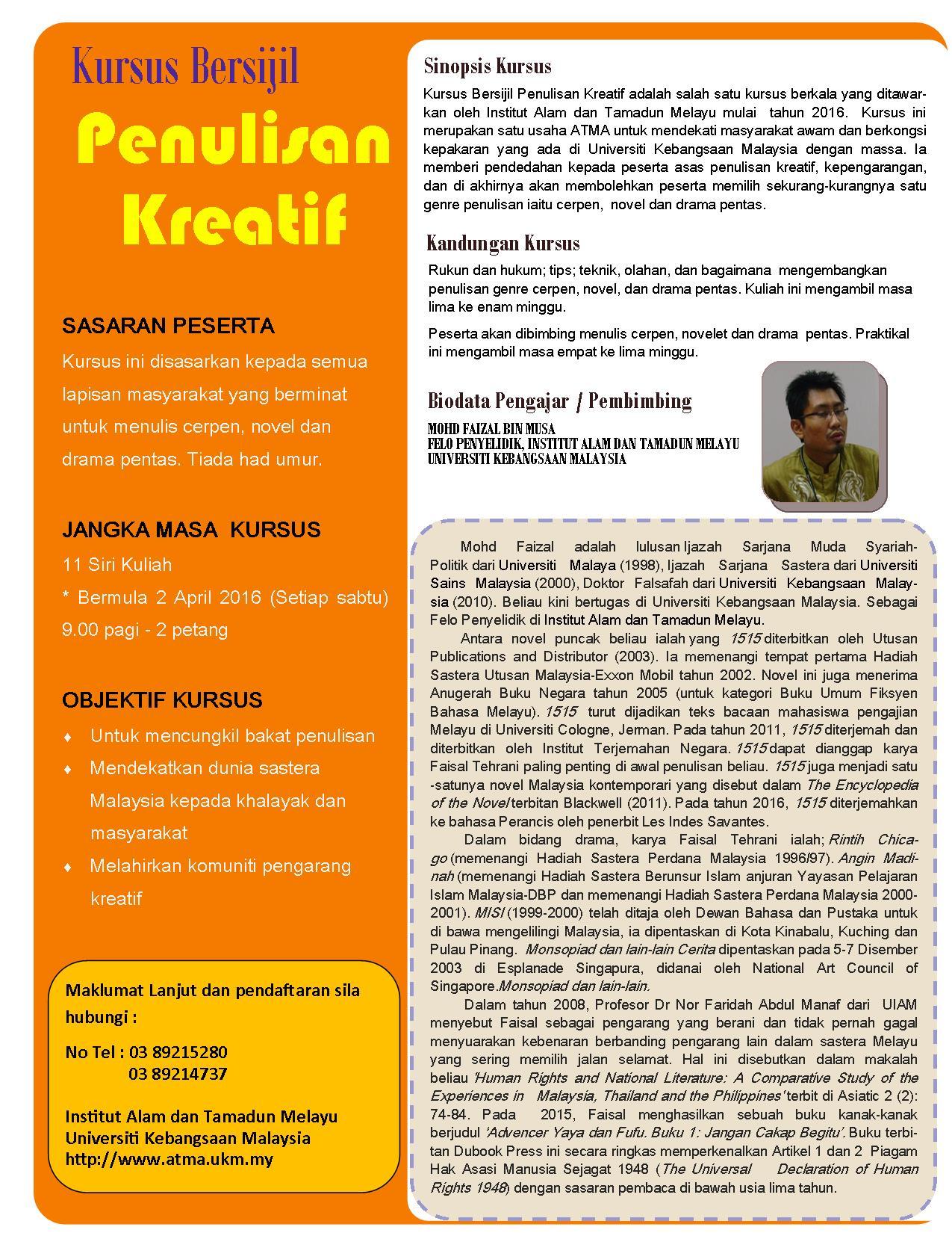 Kursus Bersijil Penulisan Kreatif Institut Alam Dan Tamadun Melayu