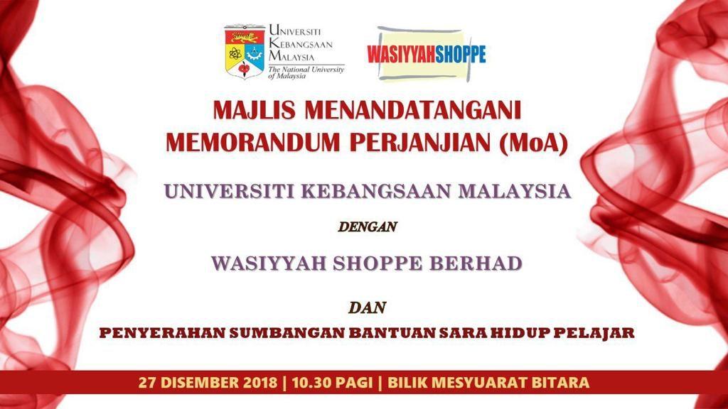 Majlis Menandatangani Memorandum Perjanjian (MoA) antara UKM dengan Wasiyyah Shoppe Berhad & Penyerahan Sumbangan Bantuan Sara Hidup Pelajar @ Bilik Mesyuarat Bitara
