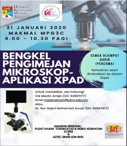 Bengkel Pengimejan Mikroskop-Aplikasi XPAD @ Makmal MPG3C, Tingkat 3, Blok C , Fakulti Sains Kesihatan
