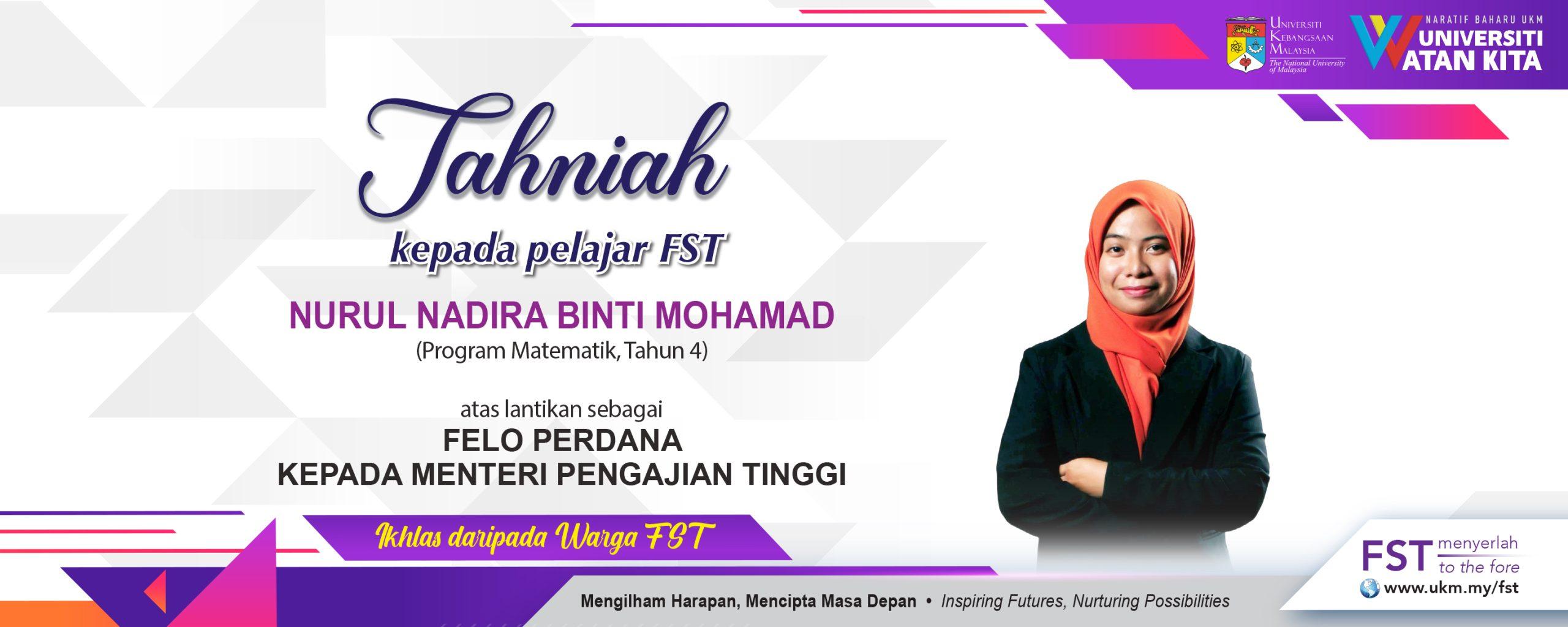 Tahniah Nurul Pelajar FST