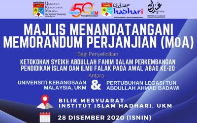 Majlis Menandatangani Memorandum Perjanjian (MoA) antara UKM dan Pertubuhan Legasi Tun Abdullah Ahmad Badawi