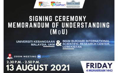 Majlis Menandatangani Memorandum Persefahaman (MoU) antara UKM dan Imam Bukhari International Scientific Research Centre, Uzbekistan
