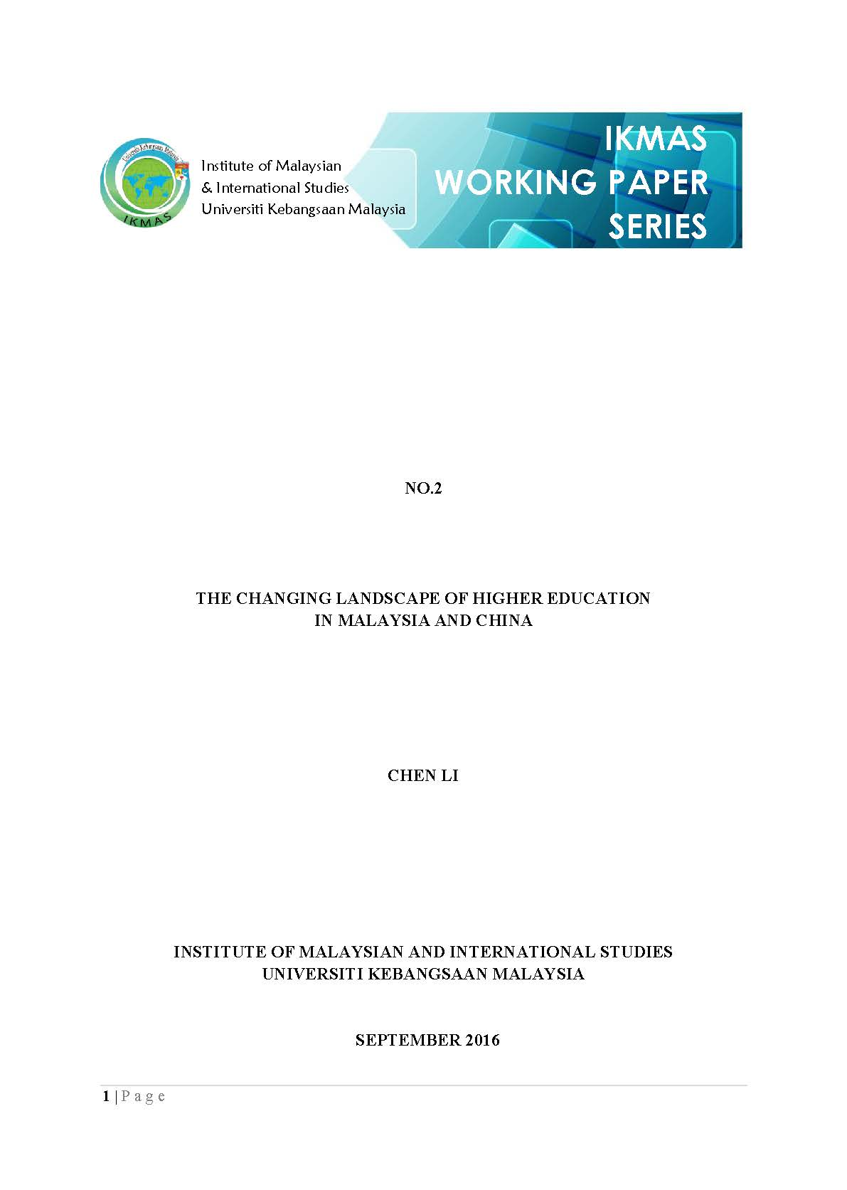 The Changing Landscape of Higher Education in Malaysia and China