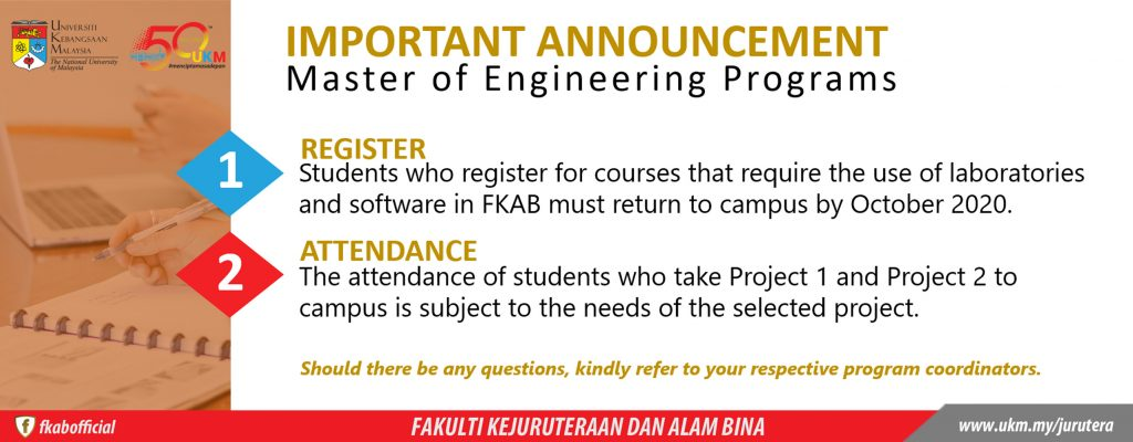 Important Announcement Master of Engineering Programs