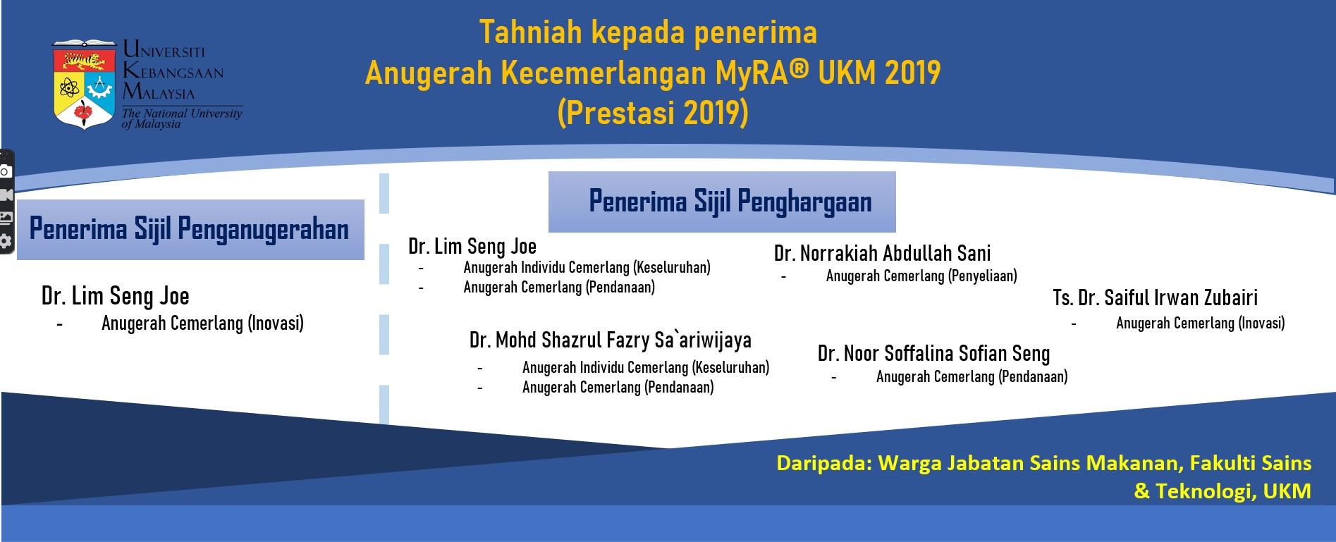 Penerima ANugerah MyRA 2019 UKM