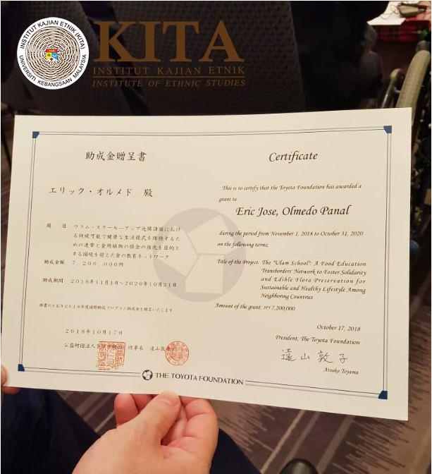 Toyota Foundation Research Grant Award 17 October 2018 Institute Of Ethnic Studies Kita