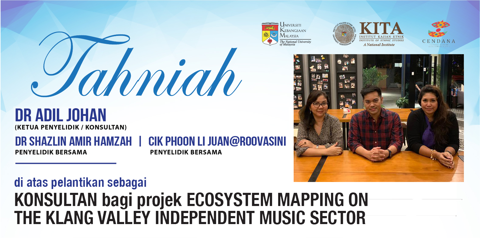 Appointment as Research Consultant for Ecosystem Mapping on the Klang Valley Independent Music Sector