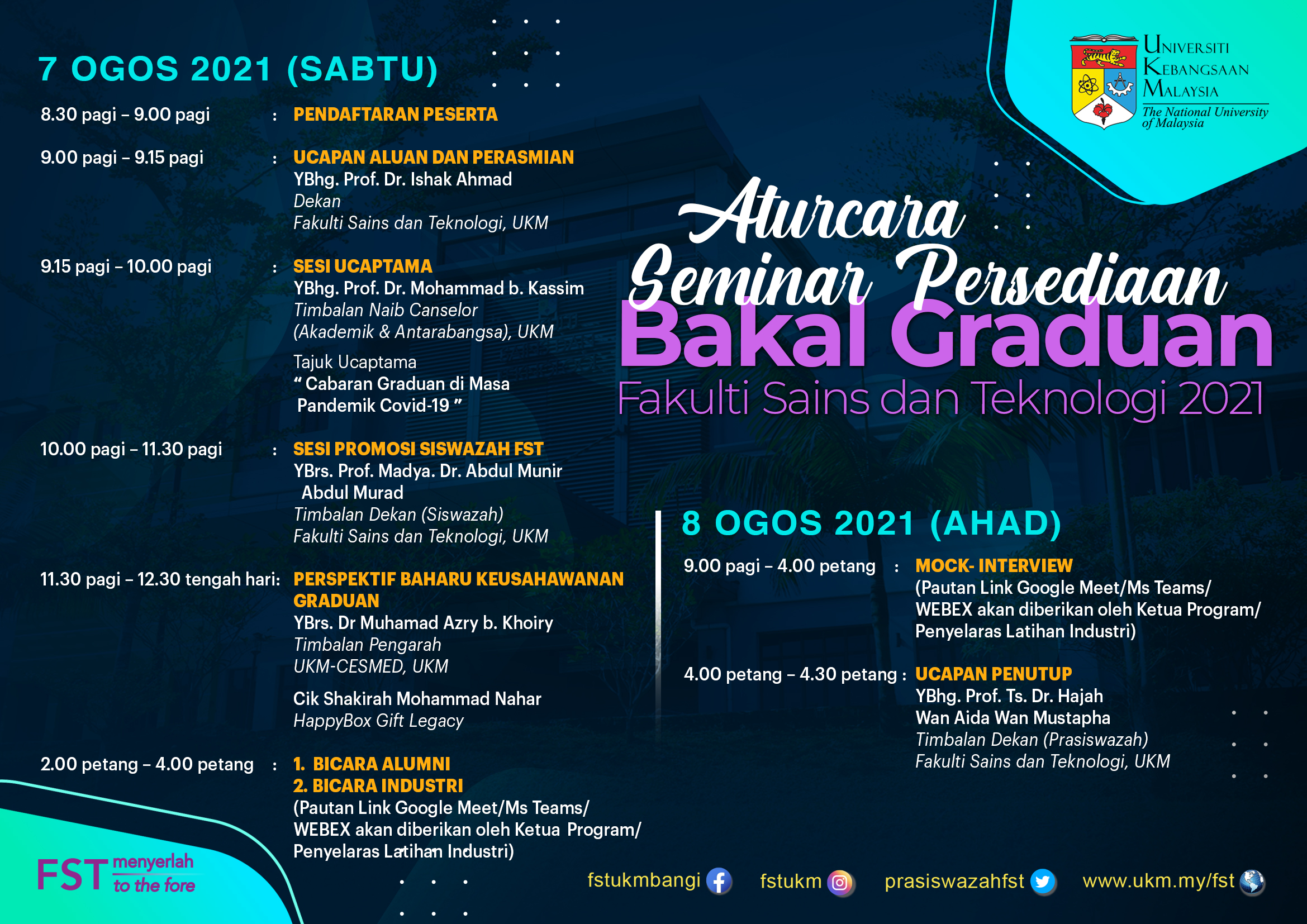 Poster Aturcara Seminar Persediaan Bakal Graduan FST