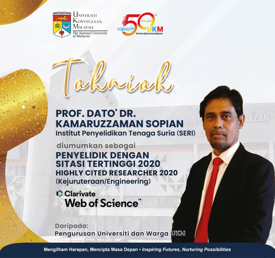 Congratulations to Prof. Dato. Dr. Kamaruzzaman Sopian announced as Highly Cited Researcher 2020 (Engineering)