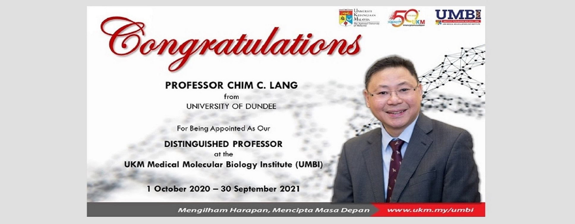Welcome  Professor Chim C Lang As The Distinguished Professor at UMBI