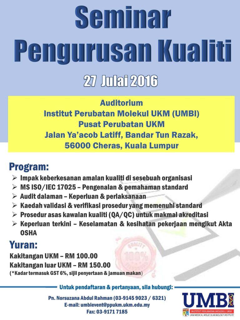 Seminar Pengurusan Kualiti Tahun 2016