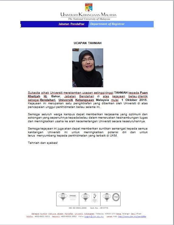 Ucapan Tahniah Atas Pelantikan Sebagai Bendahari Universiti Kebangsaan Malaysia Zakat Universiti